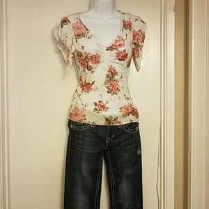 White with pink roses blouse.
